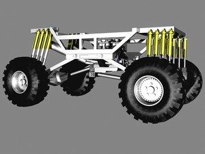 3d monster truck 4x4 frame