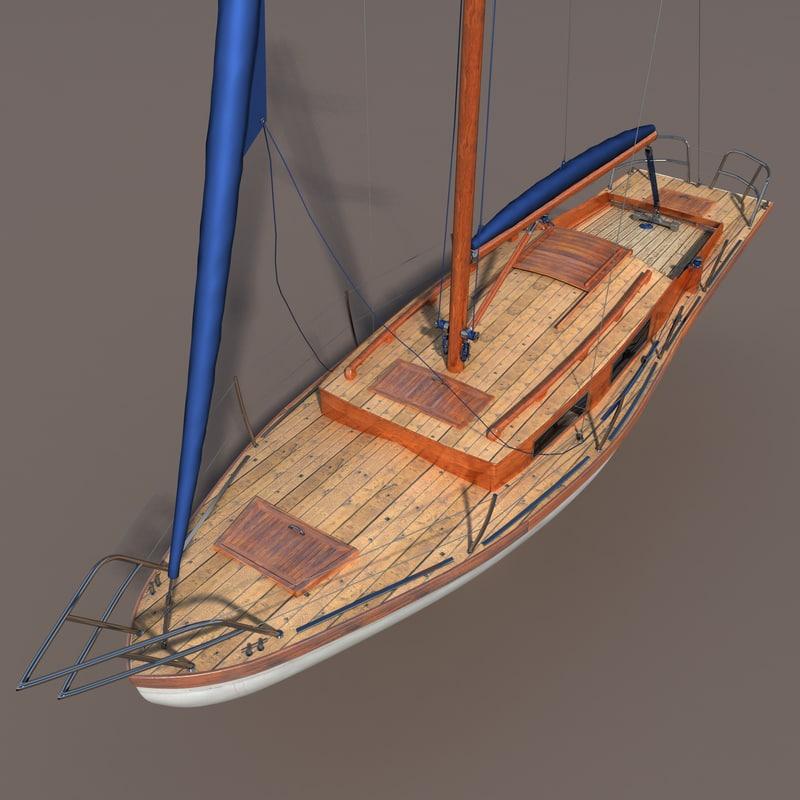 old wood sailboat 3d model
