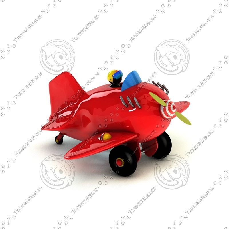 3d model of plane cartoon