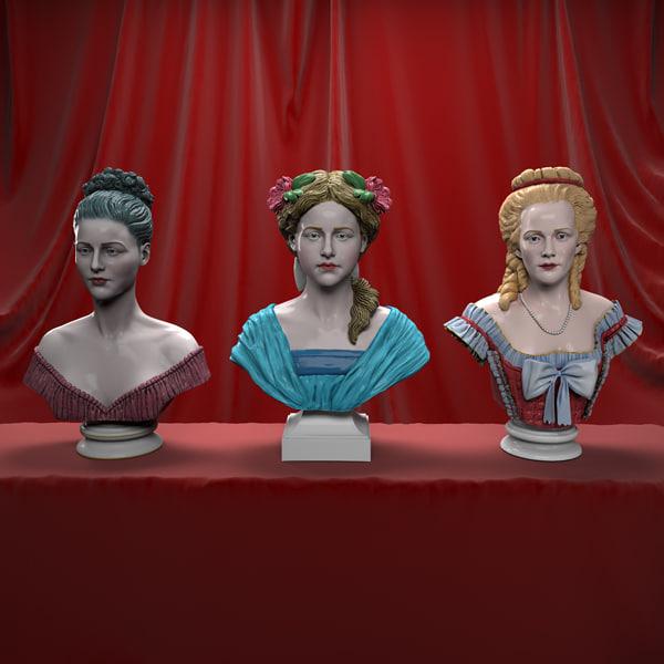 3d decorative female busts model