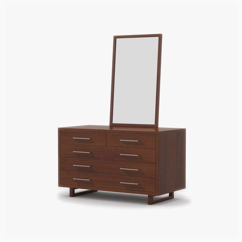 3d dresser cherry wood