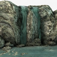 3d model waterfall rocks