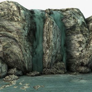 3d model waterfall rocks
