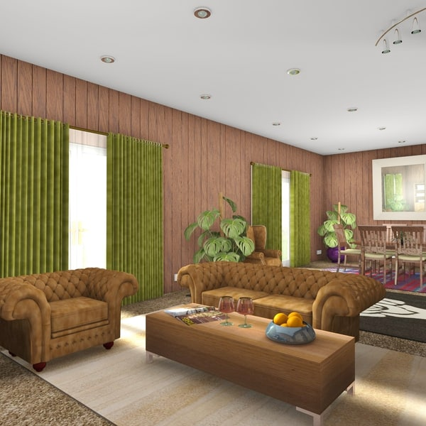 3d timber living room model