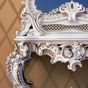 free baroque mirror table 3d model