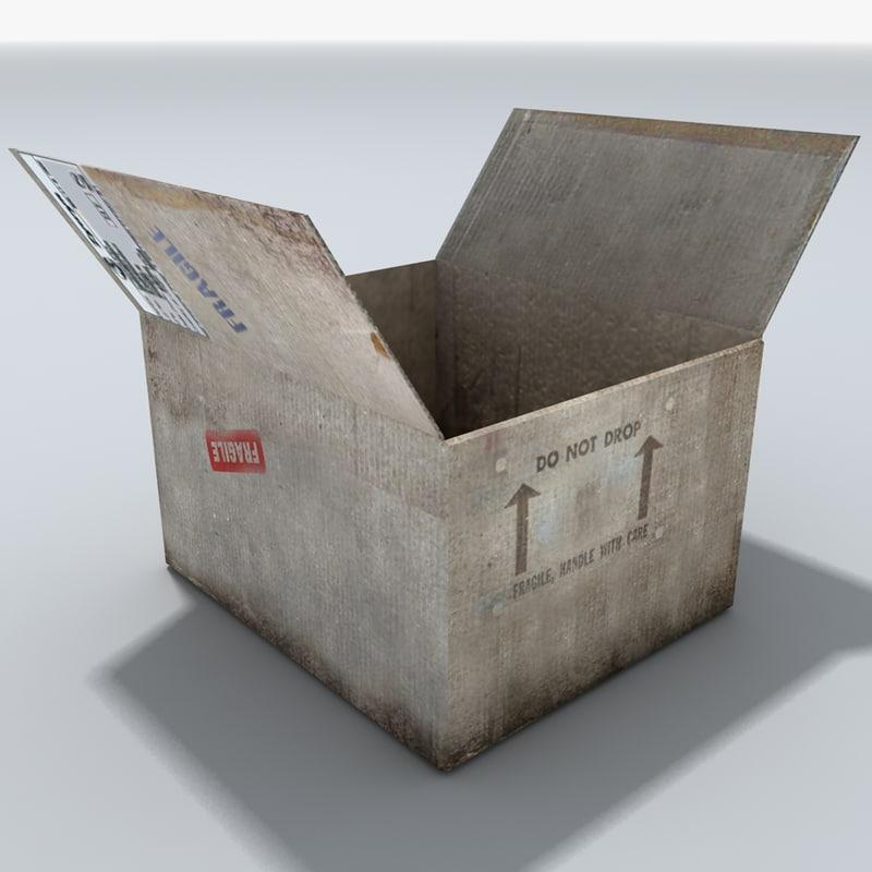 cardboard box open 3d model