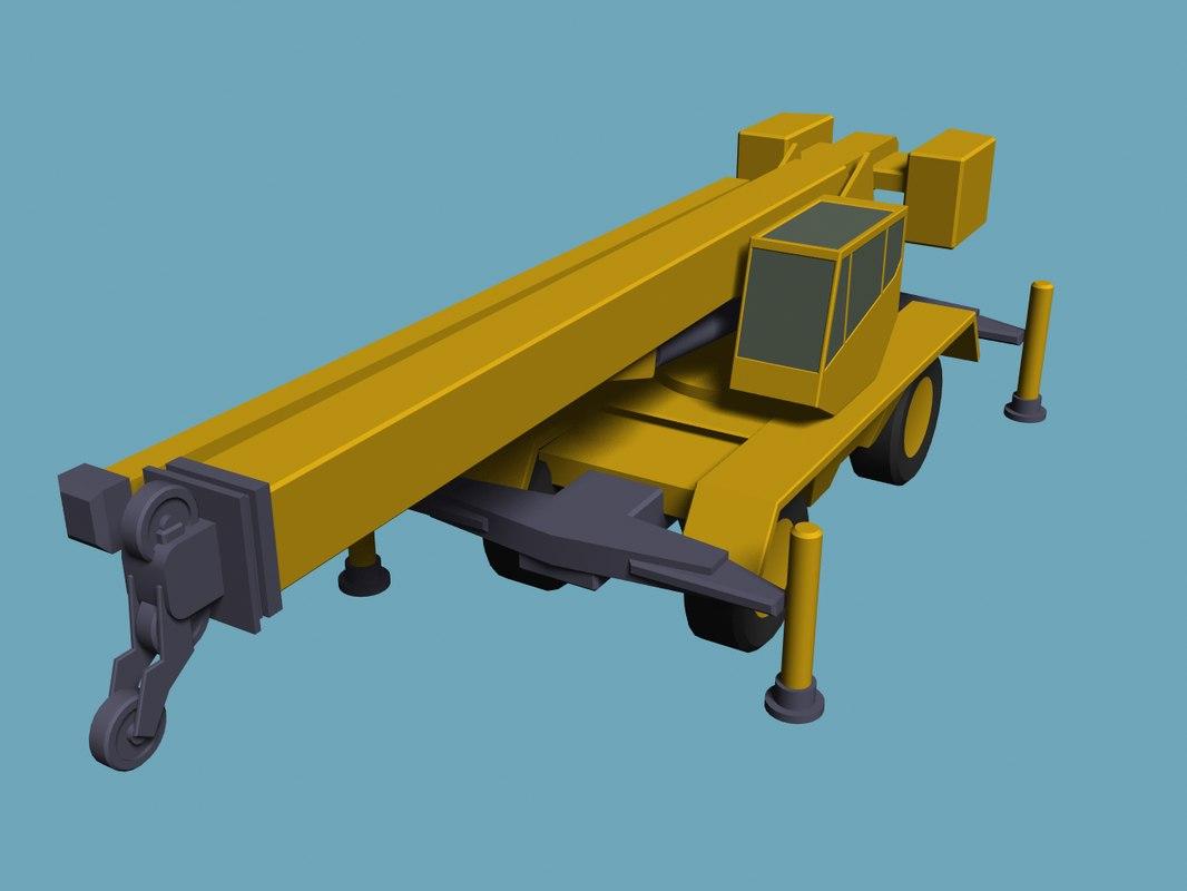basic truck-mounted crane 3d model