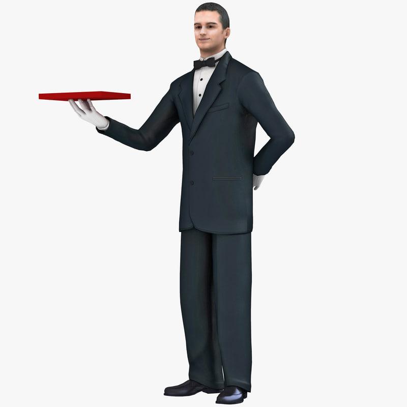 3d waiter 3 man model
