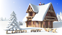wooden house cottage cartoon obj