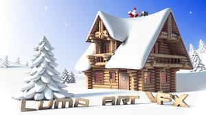 wooden house cottage cartoon obj
