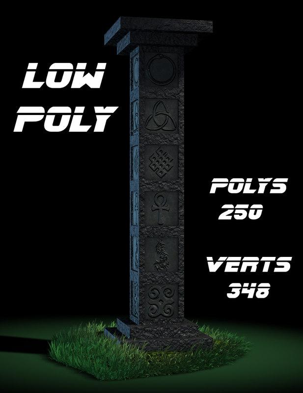 3d engraved stone column model