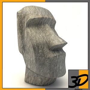 3d easter island moai statue