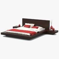 3d model platform bed walnut wood
