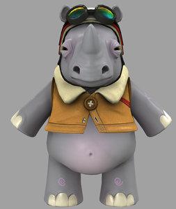 3d cartoon rhino model