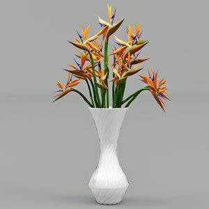 3d strelitzia flower model