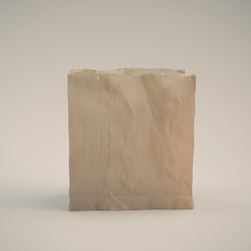 3d brown paper bag