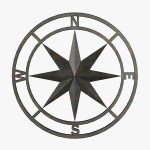 3d model metal compass fg
