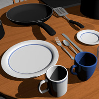Dishes Collection: 18 Pieces: C4D Model