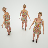 character flower dress 3d obj