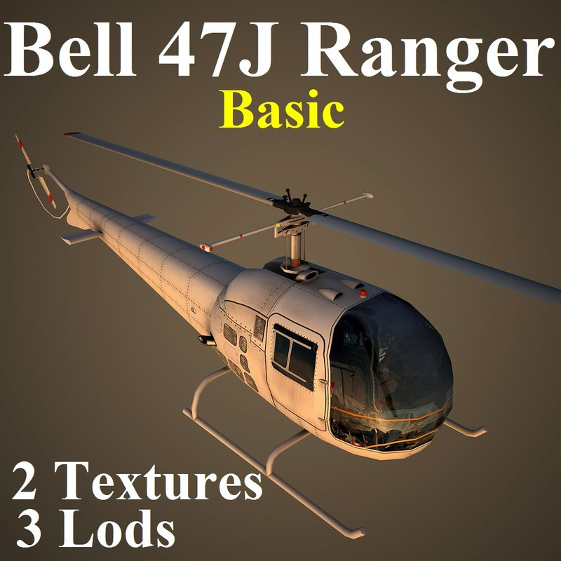 3d ma bell 47j basic helicopter