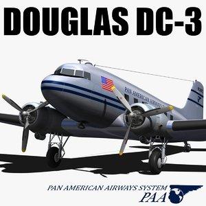 douglas dc-3 dakota 3d max