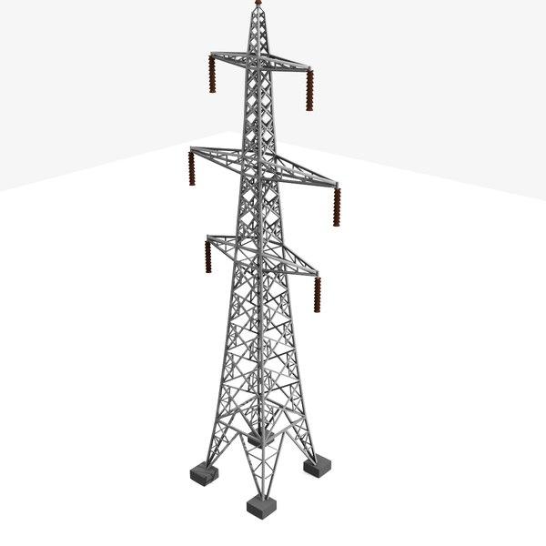 3d tower electricity pylon uk