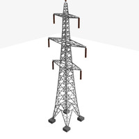 3d model tower electricity pylon uk