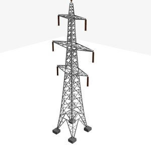 3d tower electricity pylon uk