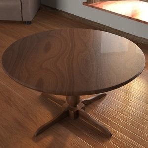 3d circular wooden table