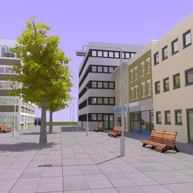 3d model shopping center street
