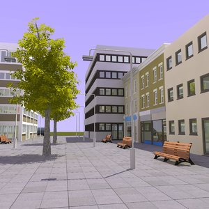 3d model shopping center street