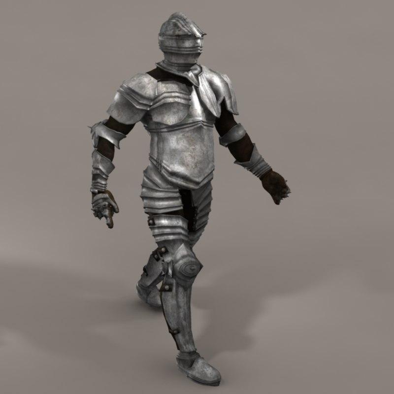 medieval knight 3d obj