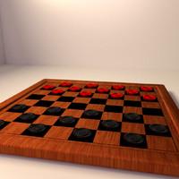 checkers board 3d model
