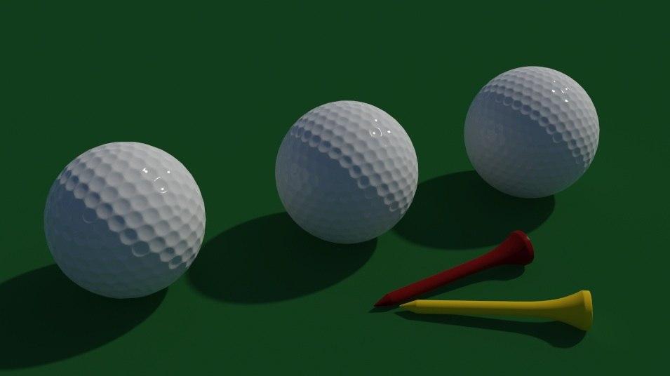 obj golf balls tees
