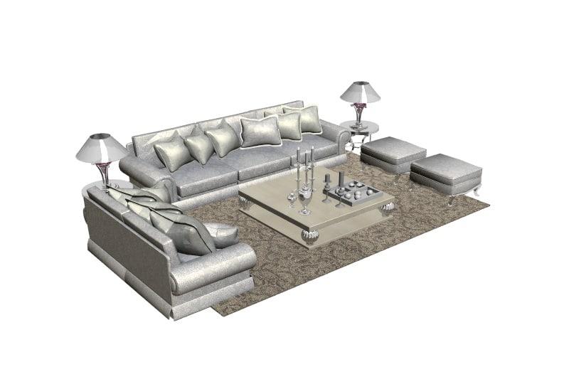 3d model living room furniture interior set