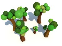 trees polygons 3d c4d