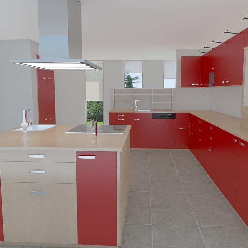 modern kitchen 3d 3ds