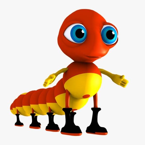 3d caterpillar character model