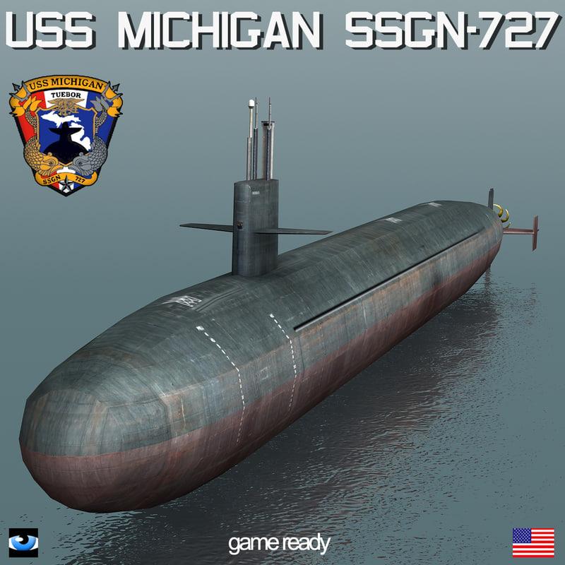 3d model uss michigan ssgn-727