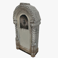 3d tombstone stone low-poly