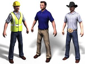 3d model man construction worker