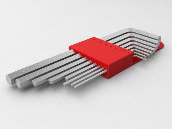 3d model hex key allen wrench