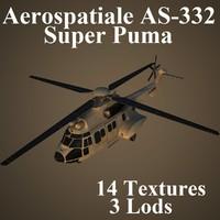 aerospatiale as-332 super 3d model