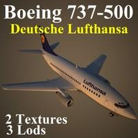 3d model boeing 737-500 dlh