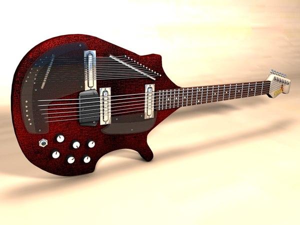 3d model electic sitar