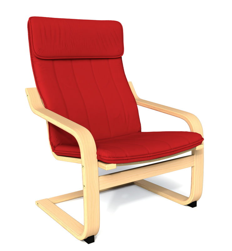 Subdivision ikea poang chair 3d model - Red poang chair ...