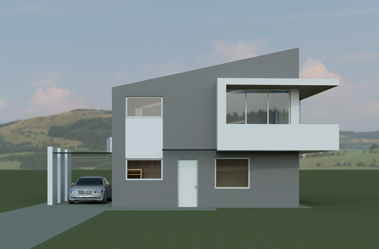 Modern house 3d model Contemporary housing