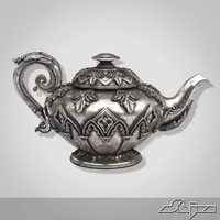 decorated silver teapot 3d 3ds