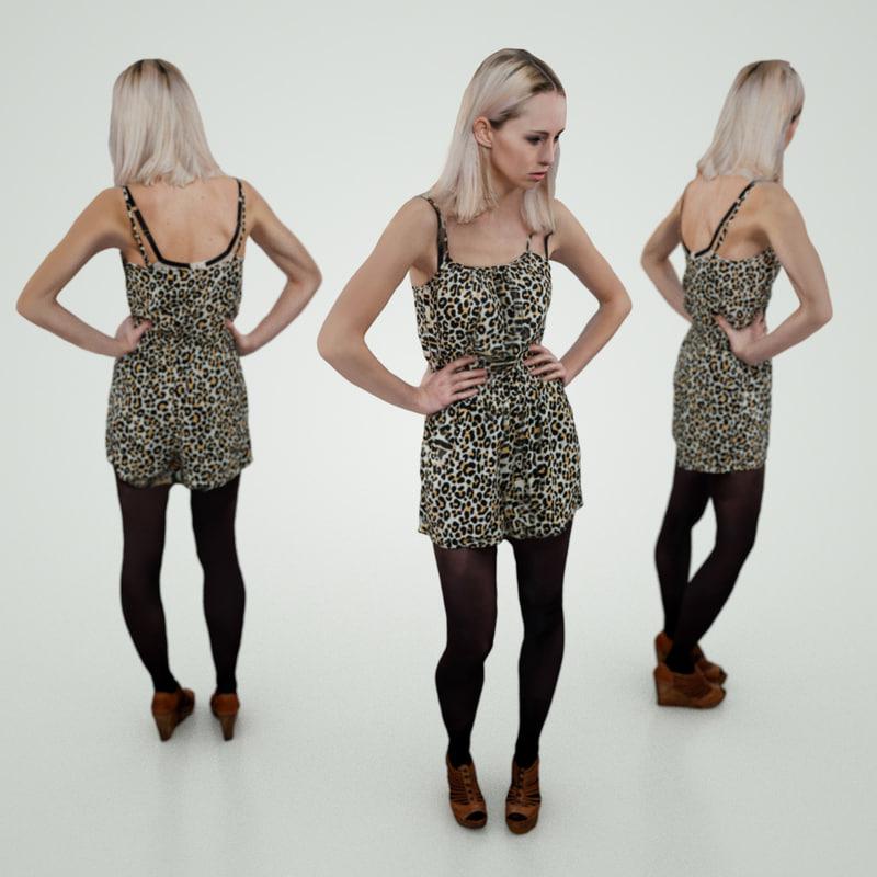 blond girl panther obj