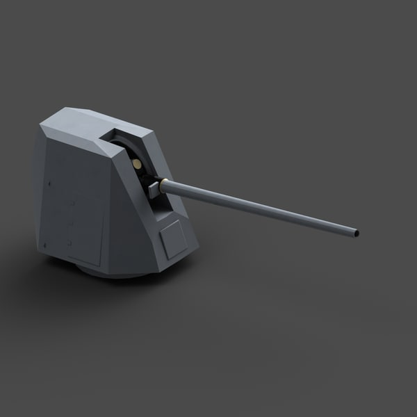 3d model lightweight naval artillery 127